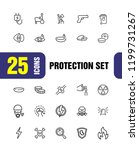 protection icons. set of  line...   Shutterstock .eps vector #1199731267