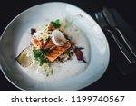 restaurant chef preparing fish...   Shutterstock . vector #1199740567