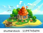 island with little house and... | Shutterstock .eps vector #1199745694