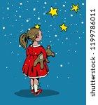 cartoon style little girl with... | Shutterstock .eps vector #1199786011