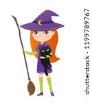 cute ginger girl in witch... | Shutterstock .eps vector #1199789767