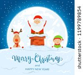 christmas theme with santa in... | Shutterstock . vector #1199789854
