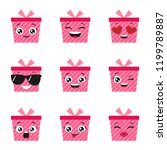 vector set of cute and happy... | Shutterstock .eps vector #1199789887