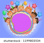 congratulatory design with kids ... | Shutterstock .eps vector #1199803534