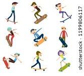athlete performs skateboard... | Shutterstock .eps vector #1199806117