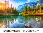 autumn sunset of hintersee lake.... | Shutterstock . vector #1199825674