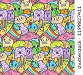 funny doodle monsters seamless... | Shutterstock .eps vector #1199827411