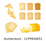 set of slices toast bread icons.... | Shutterstock .eps vector #1199846851