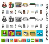 library and bookstore cartoon... | Shutterstock .eps vector #1199847331