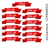 set of red sale ribbons with... | Shutterstock .eps vector #1199848531