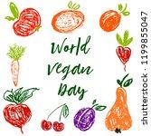 world vegan day. children's... | Shutterstock .eps vector #1199855047