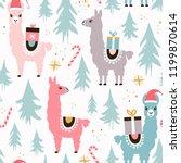 christmas llamas seamless...   Shutterstock .eps vector #1199870614