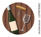 wine bottle and cup with...   Shutterstock .eps vector #1199878381