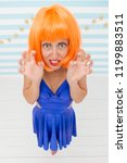 crazy woman look with fear.... | Shutterstock . vector #1199883511