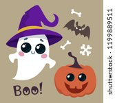 witch in a witch hat  bats and...   Shutterstock .eps vector #1199889511