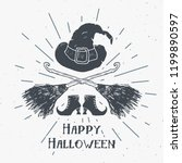 halloween greeting card vintage ... | Shutterstock .eps vector #1199890597