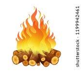 bright bonfire  burning logs ... | Shutterstock .eps vector #1199942461