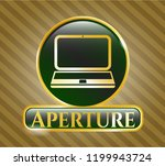 golden badge with laptop icon... | Shutterstock .eps vector #1199943724