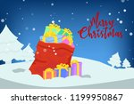 santa claus's sack and boxes of ... | Shutterstock .eps vector #1199950867