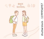 a boy and a girl are carrying... | Shutterstock .eps vector #1199956957