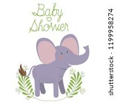 cute elephant with wreath baby... | Shutterstock .eps vector #1199958274