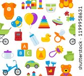 seamless pattern with baby toys.... | Shutterstock .eps vector #1199958631