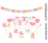 baby shower photo props  booth... | Shutterstock .eps vector #1199958634