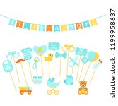 baby shower photo props  booth... | Shutterstock .eps vector #1199958637