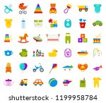 baby toy. vector. set kids toys.... | Shutterstock .eps vector #1199958784