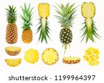 whole and half fruit of fresh... | Shutterstock . vector #1199964397