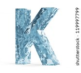 Water Alphabet isolated on white background (Letter K) - stock photo