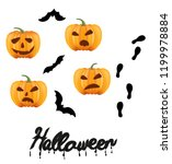 pumpkins and bats to illustrate ... | Shutterstock .eps vector #1199978884