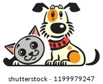 cartoon puppy dog and cat ... | Shutterstock .eps vector #1199979247