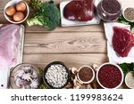 iron rich foods as liver  beef  ... | Shutterstock . vector #1199983624