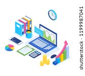 isometric 3d laptop with graph  ... | Shutterstock .eps vector #1199987041