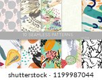 collection of seamless patterns.... | Shutterstock .eps vector #1199987044