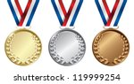 three medals  gold  silver and... | Shutterstock .eps vector #119999254