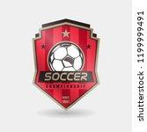 soccer football badge red gold... | Shutterstock .eps vector #1199999491