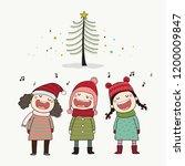 three kids singing christmas... | Shutterstock .eps vector #1200009847