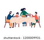 happy family sitting at dinner... | Shutterstock .eps vector #1200009931