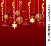 red card with christmas balls ... | Shutterstock .eps vector #120001699