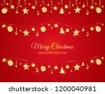 christmas golden decoration on... | Shutterstock .eps vector #1200040981