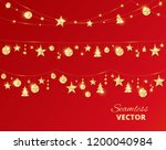 christmas golden decoration on... | Shutterstock .eps vector #1200040984