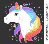 unicorn head with rainbow hair. ... | Shutterstock .eps vector #1200047314
