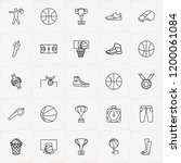 basketball line icon set with... | Shutterstock .eps vector #1200061084