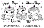 cute unicorn collection.  ink... | Shutterstock .eps vector #1200065071