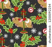seamless pattern with christmas ... | Shutterstock .eps vector #1200092254