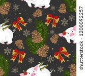 seamless pattern with christmas ... | Shutterstock .eps vector #1200092257