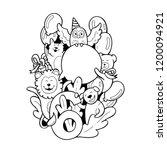 cute animals doodle sixth... | Shutterstock .eps vector #1200094921