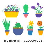 set of flowers in the pots.... | Shutterstock . vector #1200099331